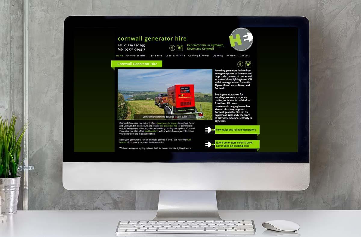Cornwall Generator Hire website