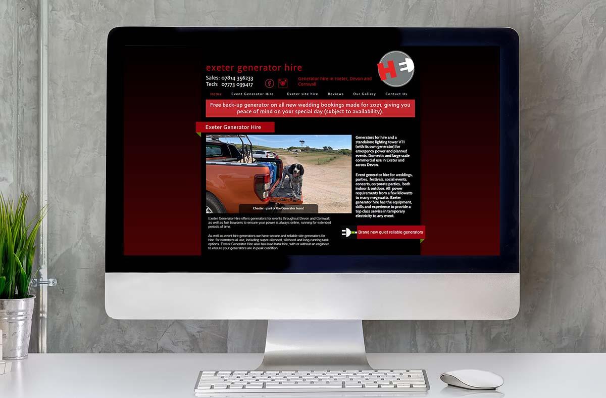 Exeter Generator Hire website
